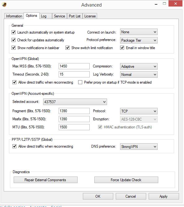 strongVPN video settings