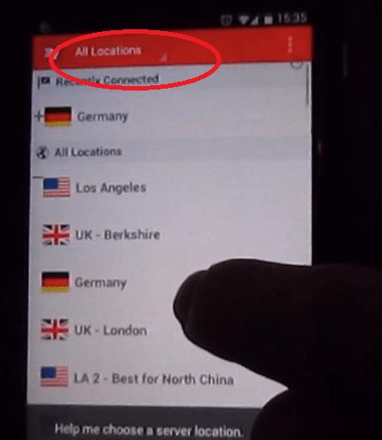 menu expressvpn , vpn per android