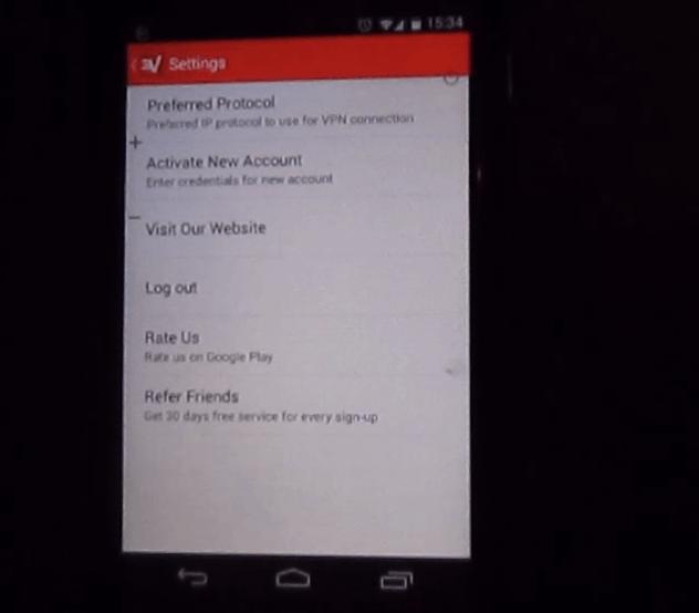 menu expressvpn , client vpn per android