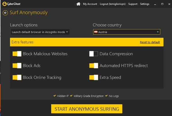 navigazione anonima cyberghost