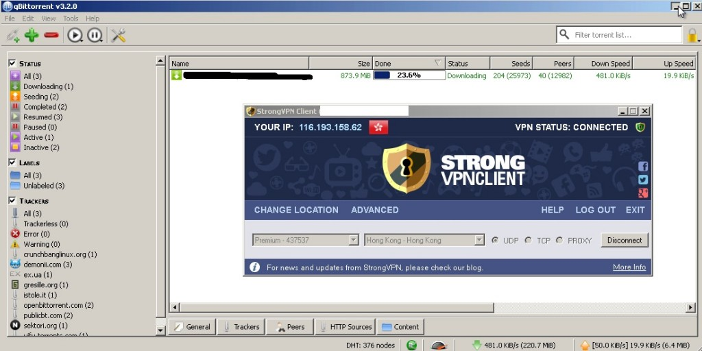 stronvpn torrent friendly