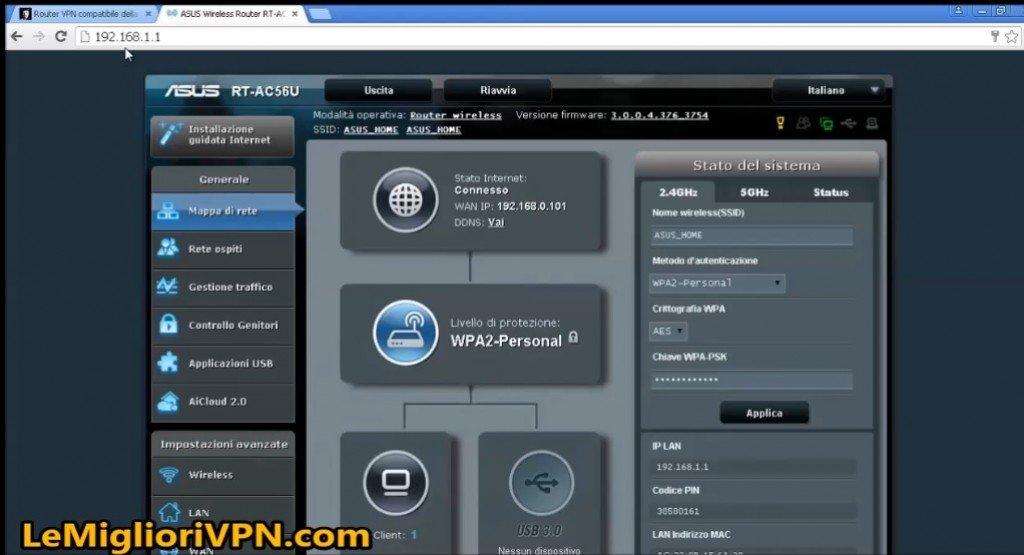 come configurare la vpn sul router