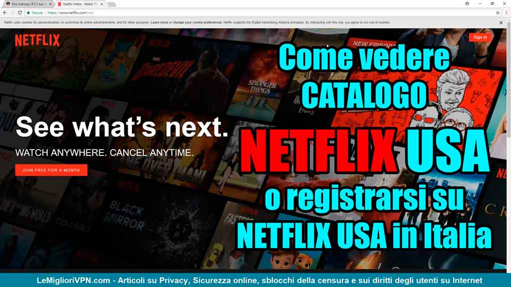 Registrarsi catalogo netflix USA in Italia
