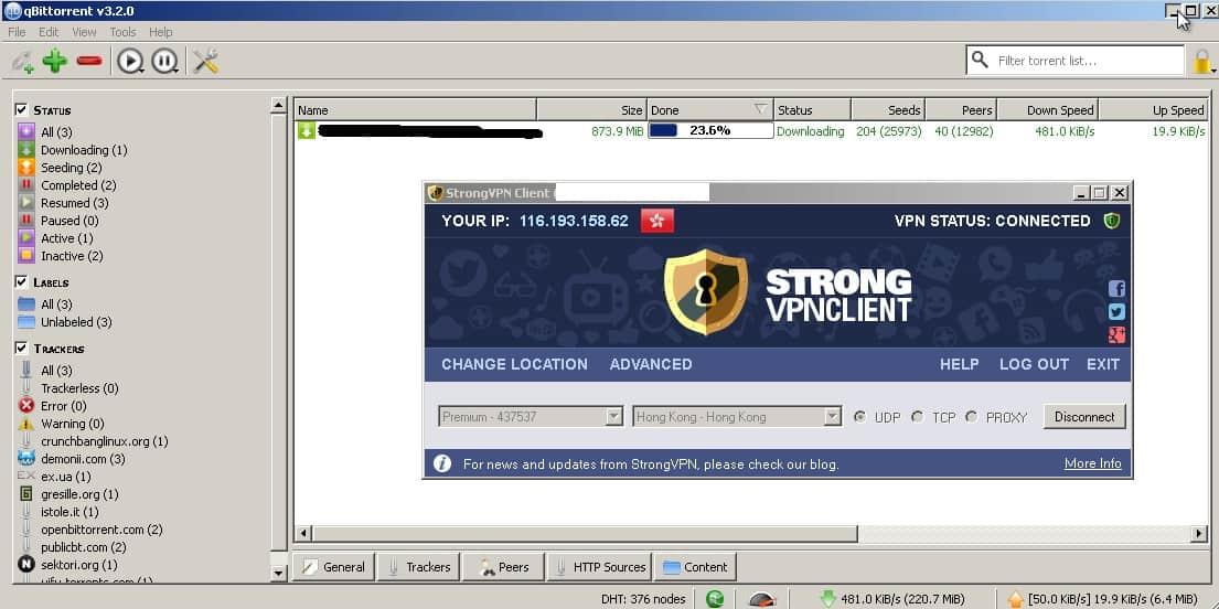 stronvpn torrent friendly