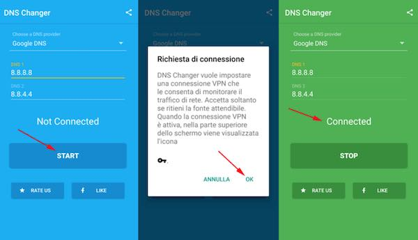 cambiare dns android