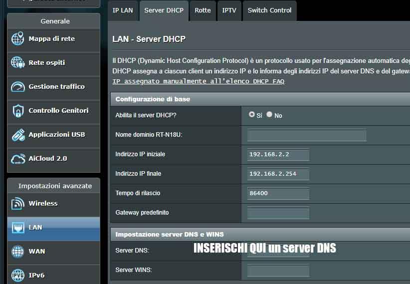 Sezione cambio DNS Google per router Asus