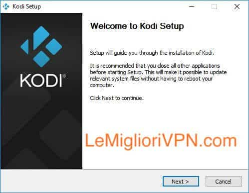 Set up di Kodi per Windows
