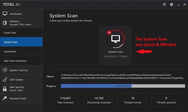 TotalAv antivirus recensione scansione