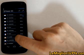IPVanish Android VPN client in test su un mobile con Android 4+